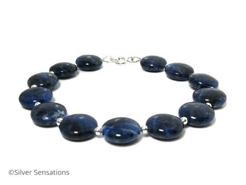 Navy Blue Sodalite Gemstones & Sterling Silver Beaded Bracelet